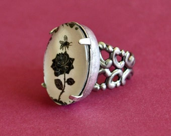 Sale 20% Off // The BEE and the ROSE Ring - Silhouette Jewelry // Coupon Code SALE20