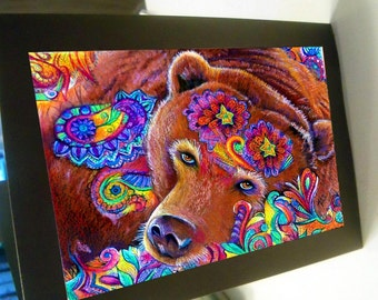 greeting card print of originlal drawing bear Exuberance colorful zentangle