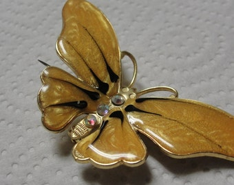 Yellow Enamel Rhinestone Butterfly Brooch