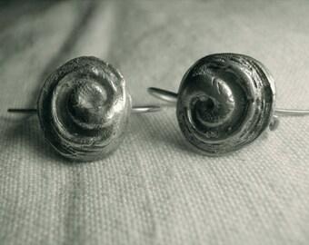 Operculum fosil sterling earrings