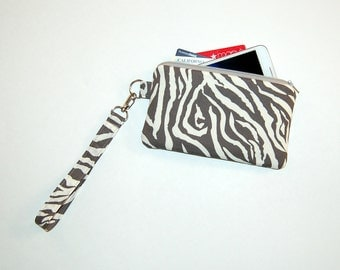 Zebra - Wristlet Purse with Removable Strap and Interior Pocket