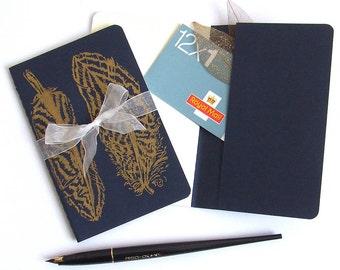 Golden Feathers Notebook Moleskine Journal in Navy Blue