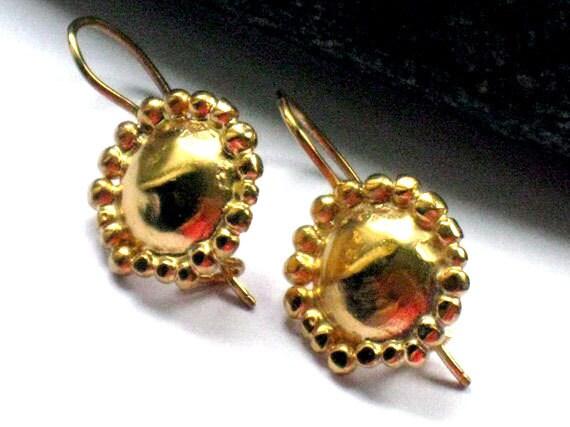 Gold Dangle Earrings, Round Silver Earrings, Gold Jewelry for Women, Oriental Earrings, Dome earrings, Artisan Handmade Gold Earrings