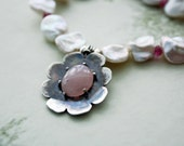 Rose Quartz Silver Flower and Keishi Pearl Choker Necklace Designer Sprng Fashion Jewelry