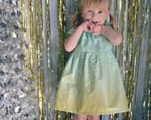 Dress gold mint green baby toddler first birthday  0-3, 3-6 6-12, 12-18, 18-24, 2t 3t 4t 5t 6 7/8   wedding photo shoot confetti glitter
