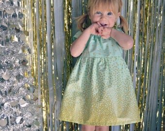 Dress gold mint green baby girl dress toddler first birthday summer flower girl dress wedding dress photo shoot outfit confetti