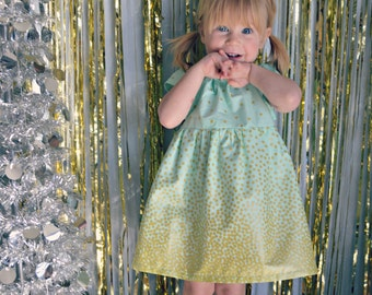 Dress gold mint green baby girl dress toddler first birthday holiday dress flower girl dress wedding dress photo shoot outfit confetti