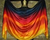 Belly Dance Silk Veil - Rectangle 3 yard hand dyed China habotai silk - BLUE FLAME - by Shibori Borealis