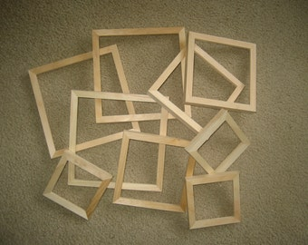 assortment of 9 square unfinished wood picture frames