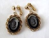 Vintage Cameo Earrings, signed Park Lane, Clips, 1970s, Black Glass, Gold, Retro, Elegant