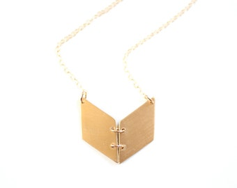Geometric Chevron Book Necklace - Gold or Silver
