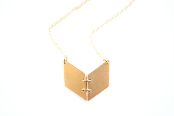 Geometric Chevron Book Necklace - Brass, Gold Filled or Sterling Silver