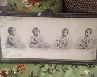 Vintage framed photo of baby or toddler- Heyn Omaha