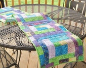 Batik table runner or bed runner, quilted.  15 x 72, blue and green