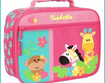 Personalized Girl Zoo Animals, Lunchbox, School, Lunch Sac, Personalized Lunchbox, Kids Lunchbox, Lunch Box, Lunch Pal,