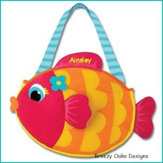 Personalized Kids Beach Bag, Fish Beach Tote, Pool Bag, Beach Toys, Toddler Beach Bag, Sand Toys Bag, Sibling Gift, Swim Wet Bag, Sand