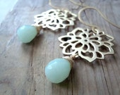Chrysanthemum Earrings - Gold, Mint Amazonite - Holiday Jewelry Mothers Day Spring Flower Jewelry Bridesmaid Jewelry Gifts Under 50