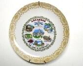 RESERVED - State Plate Arkansas, Vintage Souvenir, Retro 1970s, Decorative Plate, Lace Porcelain, Kitchen decor, Landmarks, Collectible