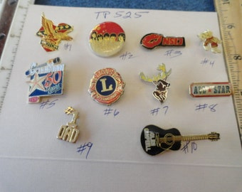 Choose your Vintage Assorted Tack Pin Lions, Elk, Def Leppard  and more 1 pin TP 525