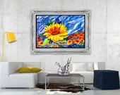 Sunflower Windy Blue Sky Fine Art Print Original Watercolor Floral FRAMEABLE ART Giclee Wedding Mother's Day Gift Collectable