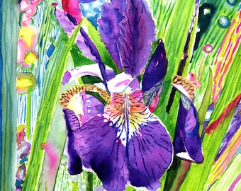 Iris Art Fine Art Print Original WatercolorFloral Print Purple RainbowColor Green FRAMEABLE ART Giclee Wedding Mother's Day Gift Collectable