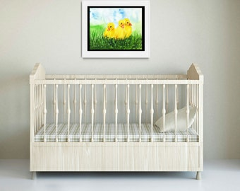 Ducklings Three Yellow Fine Art Print Original Watercolor Floral FRAMEABLE ART Giclee Nusery Expectant Mom Birth Baby Child Gift Collectable
