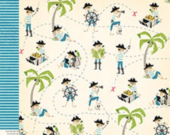 October Afternoon Treasure Map X Marks the Spot Scrapbook Paper, 2 pcs.
