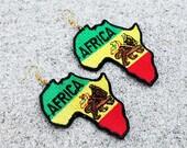 Africa Earrings, Africa Patch Earrings, Leather Earrings, Rasta Earrings, Statement Earrings, Africa Rasta Leather Patch Earrings