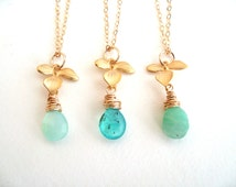 Opal Necklace Ombre Blue Opal Necklace pastel blue green October birthstone Gift for her Under 55