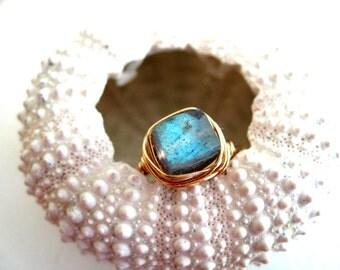 Blue Stacking Ring Solitaire Blue Gemstone Labradorite Square Bezel Gift for her Under 50 Vitrine Custom Size