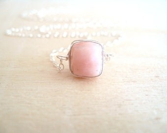Layering Necklace Solitaire Necklace Pink Opal Choker Gift for her Vitrine Designs Stacking jewelry