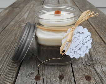Sweet Coconut Cream & Fudge Brownie Layered Soy Candle Wood Wick