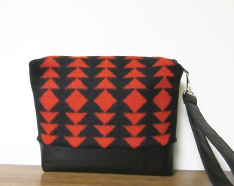 Wrist Bag Purse Blanket Weight Red Wool Blanket Fabric Black Leather