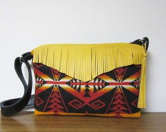 Blanket Weight Wool Purse Shoulder Cross Body Bag Adjustable Black Leather Strap Deer Leather Fringe
