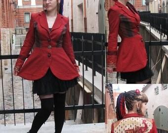 MASQ Elephant print jacket. Steampunk jacket, circus and Asia inspired original coat. Printed fabric Red jacket, Oz, Any size