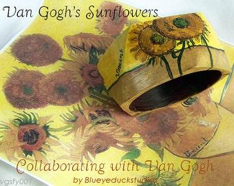 Vincents Sunflowers, Hand painted, Cuff Bracelet, Folk ART, Van Gogh, Original painting on wide hardwood bangle, jewelry