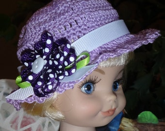 Crochet Hat for Tonner 10  14 inch Doll Head size 8 inches Lavender Purple White  Bow