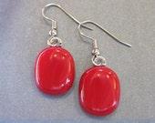 Red Earrings, Hypoallergenic Earings, Red Dangle Earrings, Christmas - Lipstick - 1435 -4