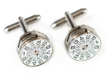 Unique Mathematics Number Spiral Perfectly Matched Steampunk Cufflinks with Vintage Silver Watch Movements by Velvet Mechanism