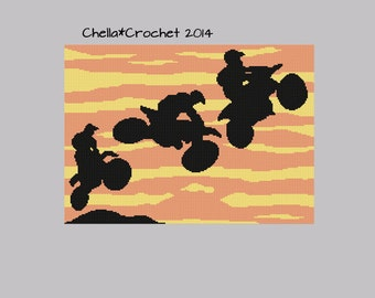INSTANT DOWNLOAD Sunset Motocross Racers Bikes Stunts Afghan Crochet Knit Cross Stitch Pattern Graph