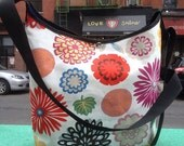 White Cotton Canvas Zinnia Print Market Bag, Floral Cross Body Messenger Tote, Shoulder Bag