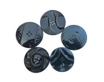 5 buttons, rare antique vintage plastic buttons art DECO, blue, 5 assorted ornaments, 35mm