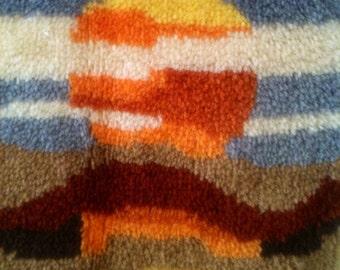 Vintage boho 70s latch hook rug carpet sunburst sunset desert sand clouds wall hanging