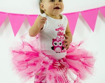 Baby Girl 1st Birthday Outfit - Owl First Birthday Tutu - Cake Smash Outfit - Pink