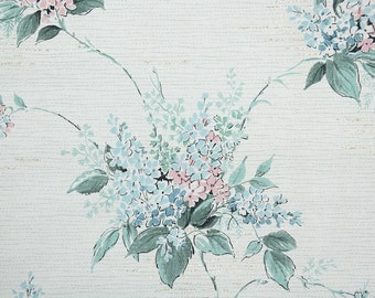 1950's Vintage Wallpaper - Blue and Pink Flowers on White