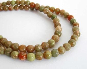 """4mm Autumn Jasper Beads, Round Beads, Jasper Gemstone Beads, Smooth Round Jasper Beads, Full Strand, 15"""" Strand, Jas201"""