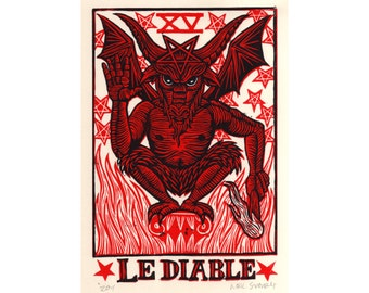 Tarot Art, Occult Art,  Devil Tarot Linocut Art Print, divination wall decor, Linocut Print
