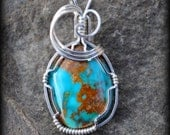 RESERVED LISTING bisbee turquoise pendant wire sculpted wearable art sterling wire