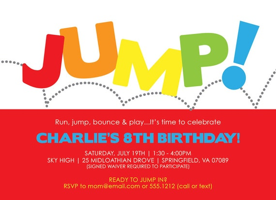 Jump Birthday Invitation Bounce Invitation Jump Birthday – Pump It Up Party Invitations