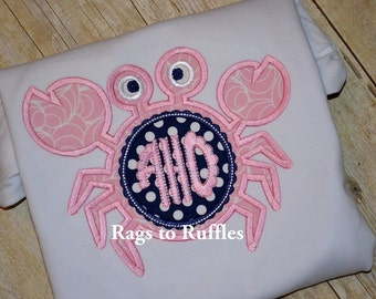 Monogrammed Summer Crab Applique Tshirt
